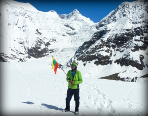 Himalayas ( Garhwal Uttrakhand ) with Myanmar National Flag