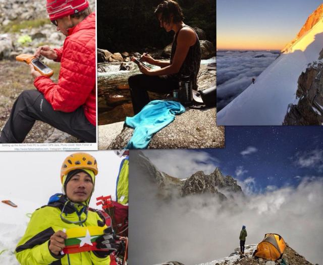 "Photo Credit goes to Mark Fisher, Renan Ozturk, Emily Harrington, Cory Richards & Hilaree O'Neill Photo- From Top Left to clockwise -Andy Tyson-Leader of 2013 GamlangRazi expedition Expedition Top Middle - Expedition Leader of 2014 Nat-Geo TNF expedition to Hkakaborazi expedition. Top-Right Renan at the high camp pf HkakaboRazi Bottom-Right- Emily Harrington on HkakaboRazi , Bottom Left :PyaePhyoAung holding Myanmar Flag at the summit of GamlangRazi while Juniper Archer2 in the background acquiring the GPS data of summit for 20 minutes ( measured as Longitude: E 97 28'04.64641"" Mean Sea Level Height: 5870.084 meters (+/- 2 meters) )"