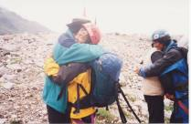 Ozaki welcomed by Dwight ( aka Major Kai Khan Moong) at the base camp