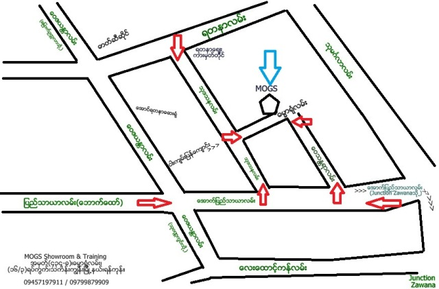 MOGS new showroom map directions ( arrows )